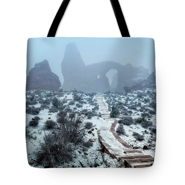 Turret Arch In The Fog Tote Bag