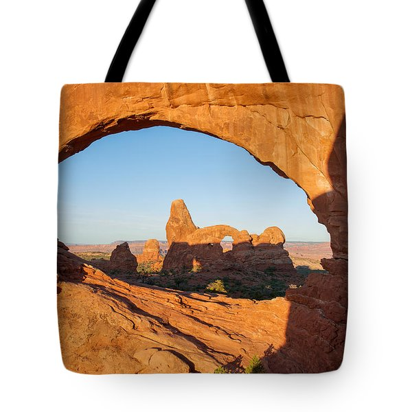 Turret Arch Through North Window Tote Bag
