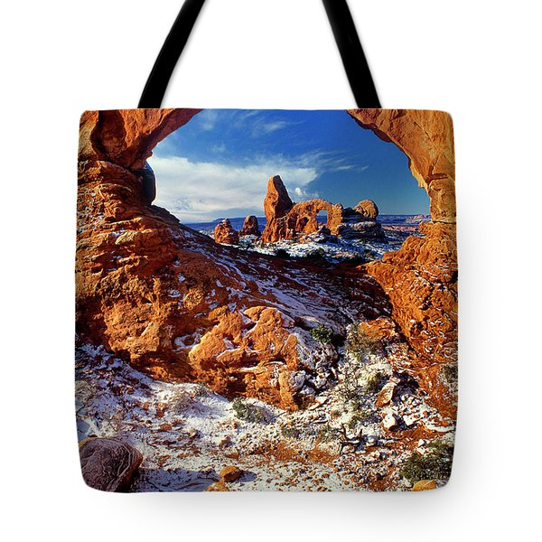 Turret Arch Through North Window Arches National Park Utah Tote Bag
