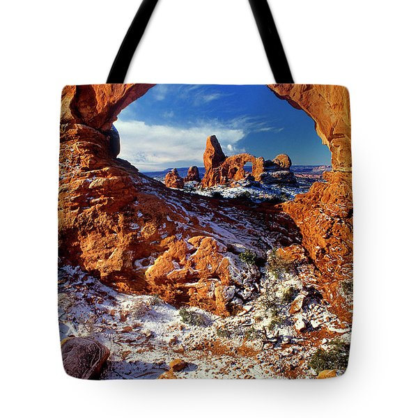 Tote Bag featuring the photograph Turret Arch Through North Window Arches National Park Utah by Dave Welling