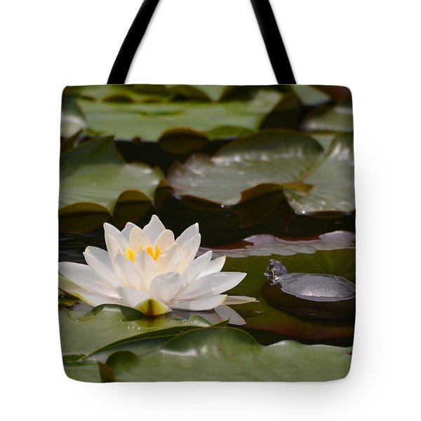 Turtle And Water Lily Tote Bag