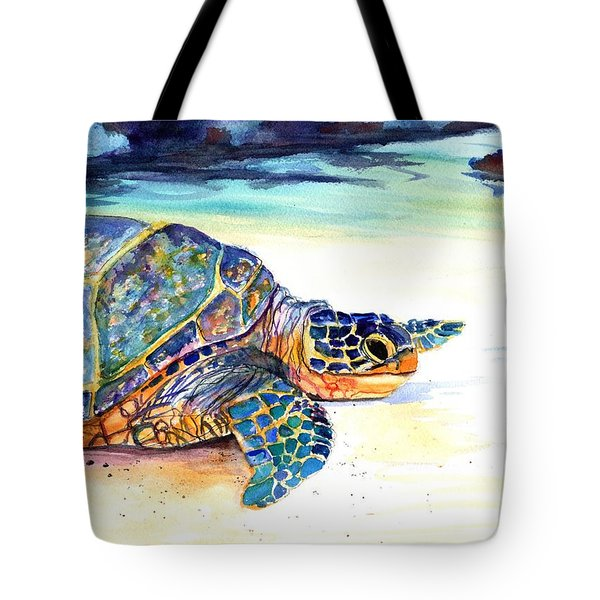 Tote Bag featuring the painting Turtle At Poipu Beach 2 by Marionette Taboniar