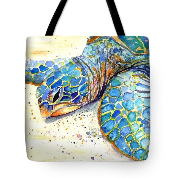 Tote Bag featuring the painting Turtle At Poipu Beach 4 by Marionette Taboniar