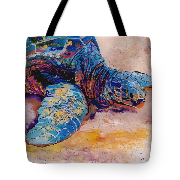 Tote Bag featuring the painting Turtle At Poipu Beach 6 by Marionette Taboniar