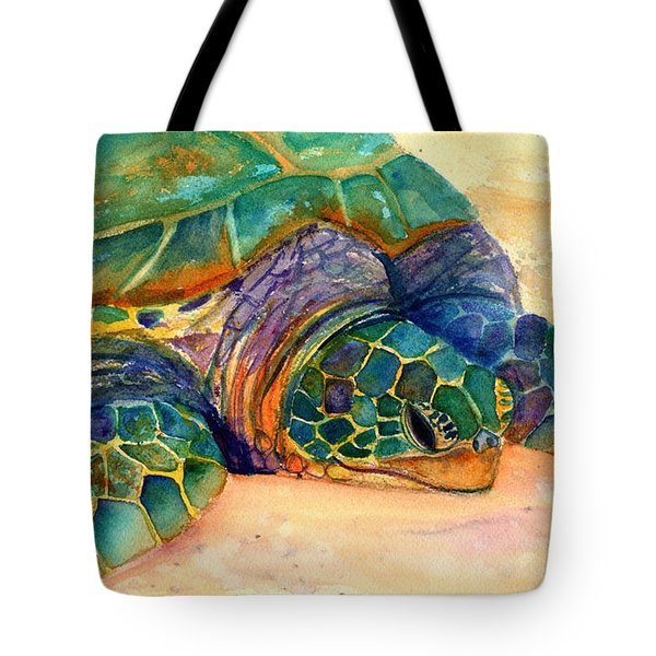 Tote Bag featuring the painting Turtle At Poipu Beach 7 by Marionette Taboniar
