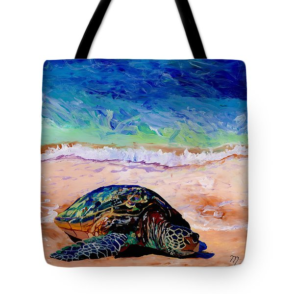 Tote Bag featuring the painting Turtle At Poipu Beach 9 by Marionette Taboniar