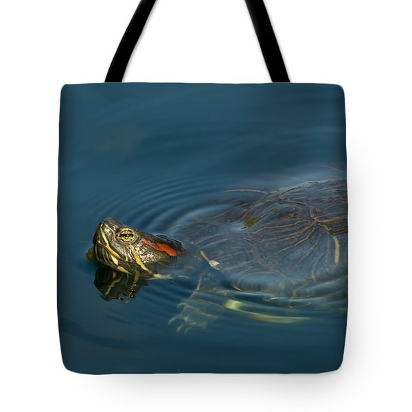 Turtle Floating In Calm Waters Tote Bag