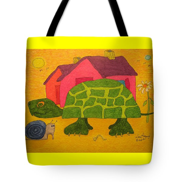 Turtle In Neighborhood Tote Bag