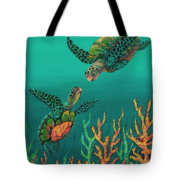 Tote Bag featuring the painting Turtle Love by Darice Machel McGuire