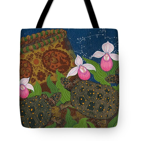 Tote Bag featuring the painting Turtle - Mihkinahk by Chholing Taha