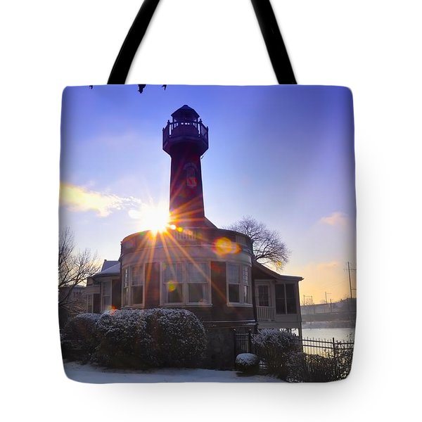 Turtle Rock Light House At Sunrise Tote Bag by Bill Cannon