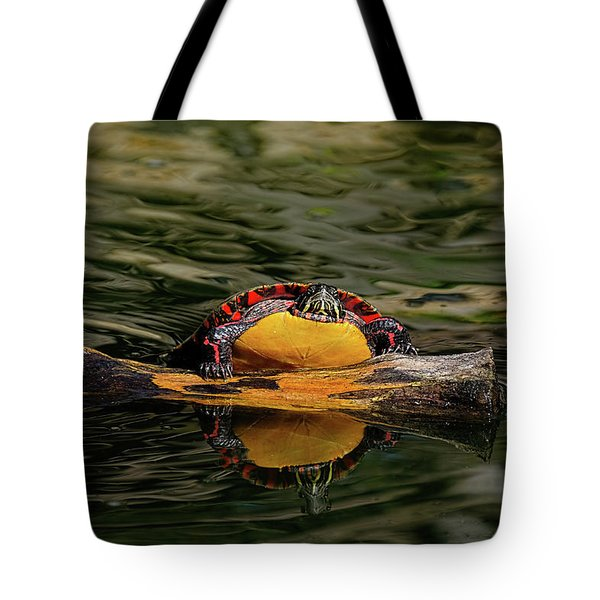 Turtle Taking A Swim Tote Bag