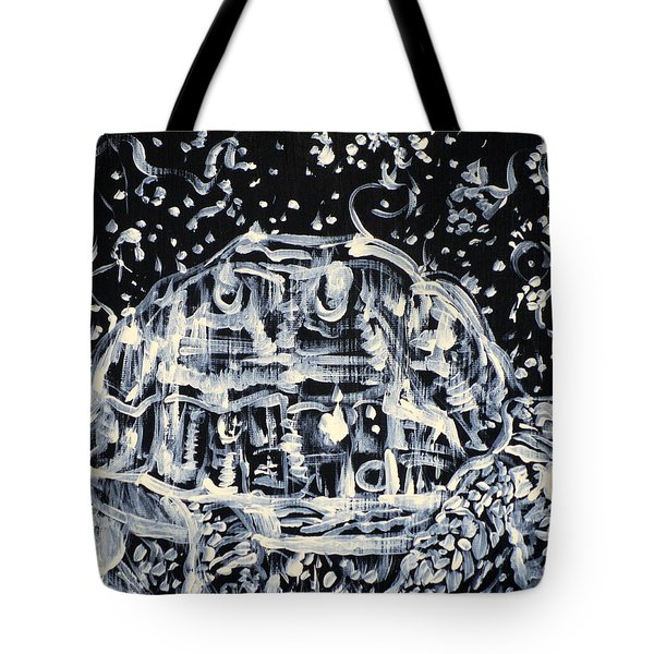 Tote Bag featuring the painting Turtle Walking Under A Starry Sky by Fabrizio Cassetta