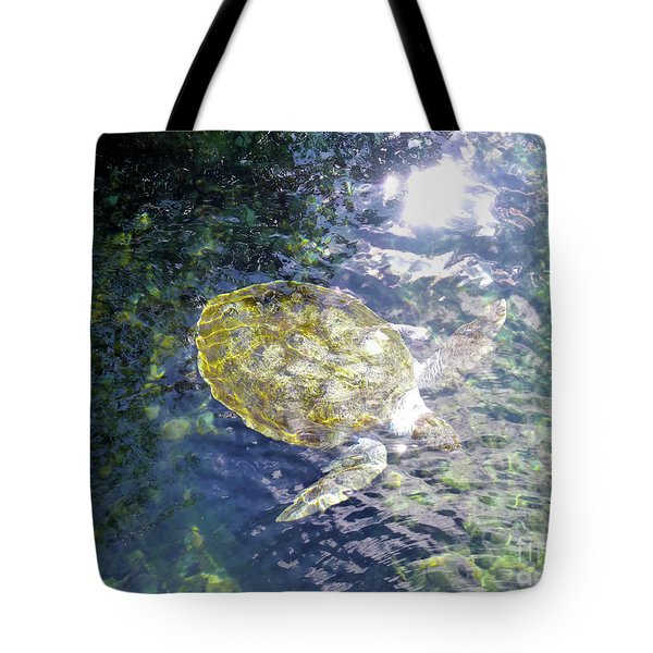 Tote Bag featuring the photograph Turtle Water Glide by Francesca Mackenney