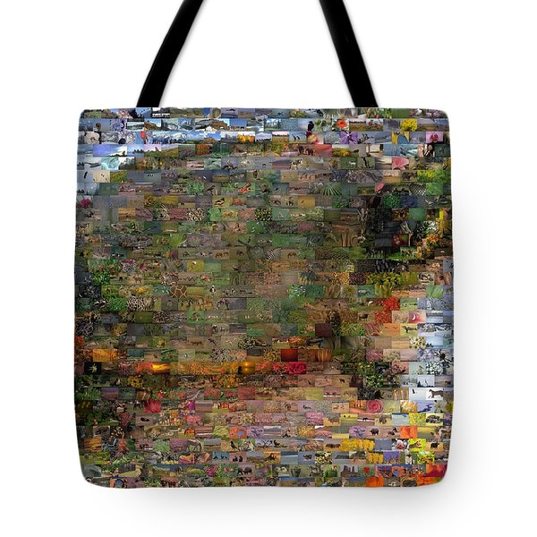 Tote Bag featuring the mixed media Turtle Wild Animals Mosaic by Paul Van Scott