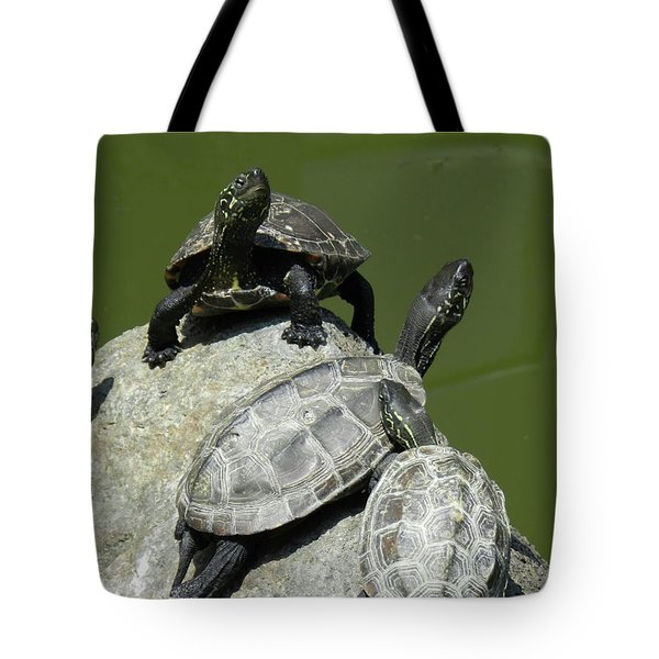 Tote Bag featuring the photograph Turtles At A Temple In Narita, Japan by Breck Bartholomew