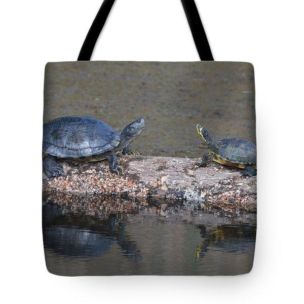 Turtles On A Log Tote Bag