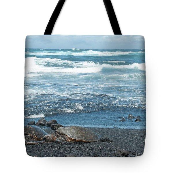 Turtles On Black Sand Beach Tote Bag
