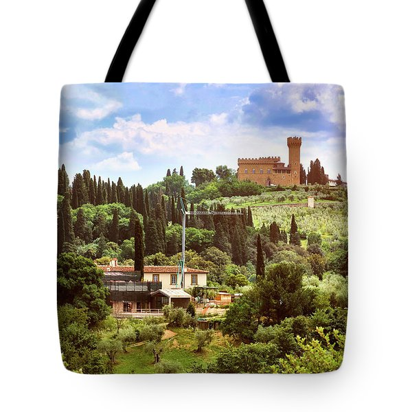 Tuscan Fields And Old Castle In Florence Tote Bag