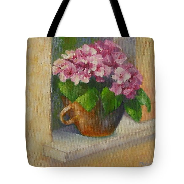 Tote Bag featuring the painting Tuscan Flower Pot Oil Painting by Chris Hobel