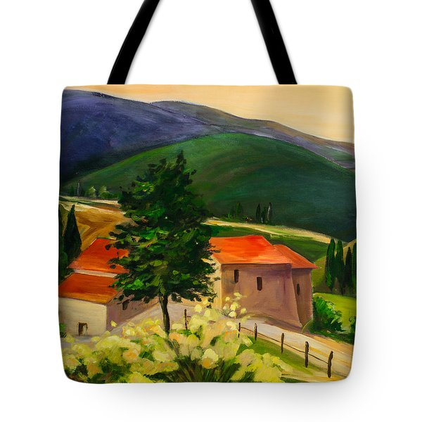Tote Bag featuring the painting Tuscan Hills by Elise Palmigiani