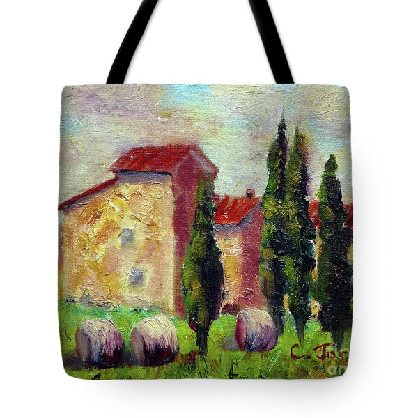 Tuscan House With Hay Tote Bag