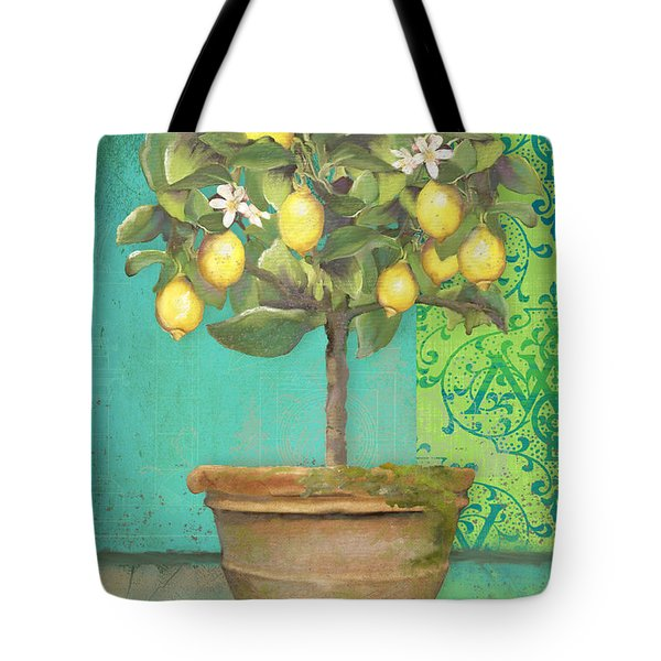 Tuscan Lemon Topiary - Damask Pattern 1 Tote Bag