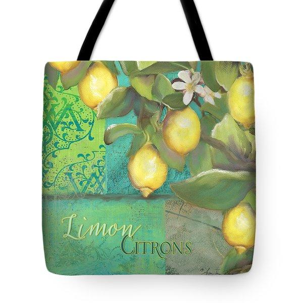 Tuscan Lemon Tree - Damask Pattern 2 Tote Bag