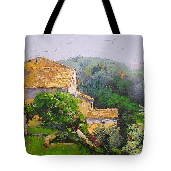 Tote Bag featuring the painting Tuscan Village by Chris Hobel