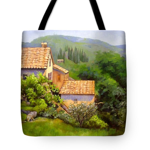Tote Bag featuring the painting Tuscan Village Memories by Chris Hobel
