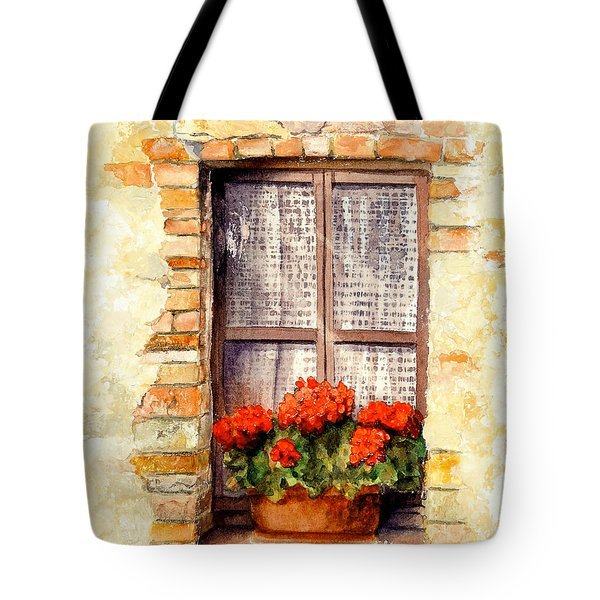 Tote Bag featuring the painting Tuscan Window by Bonnie Rinier