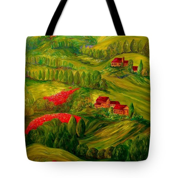 Tote Bag featuring the painting Tuscany At Dawn by Eloise Schneider