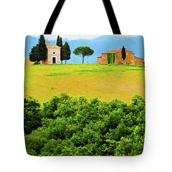 Tuscany Chapel And Farmhouse Tote Bag by Dennis Cox