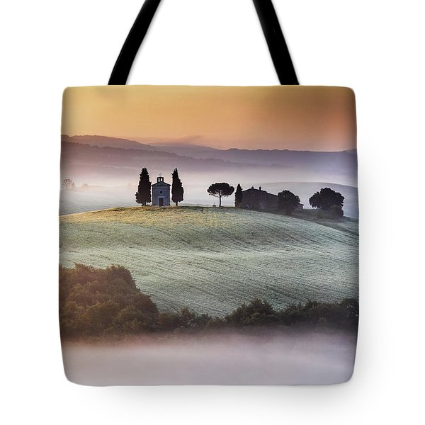 Tuscany Church On The Hill Tote Bag by Evgeni Dinev