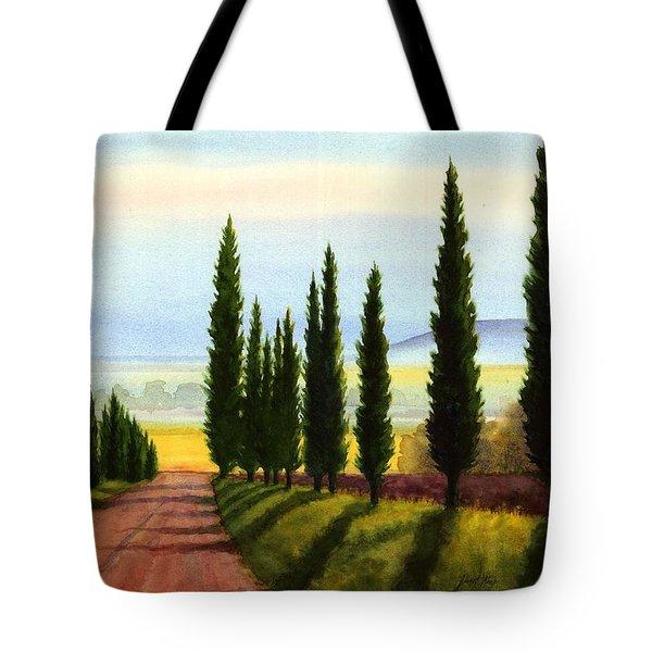 Tuscany Cypress Trees Tote Bag