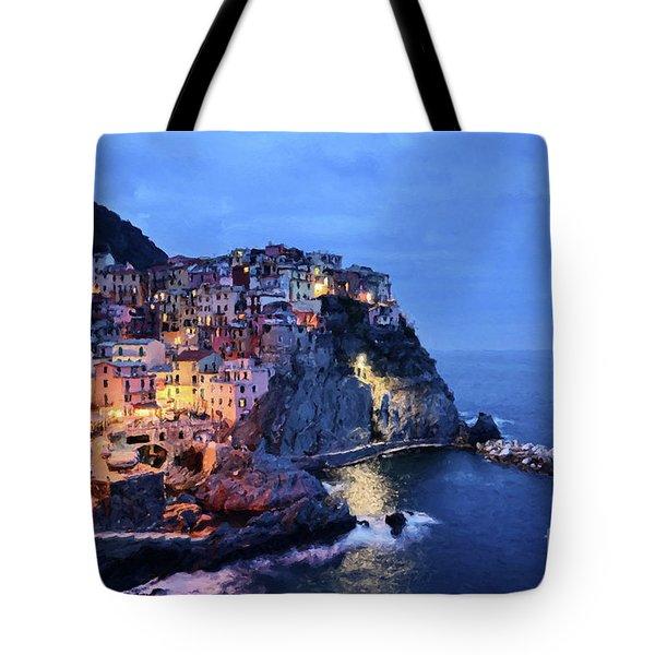 Tuscany Like Amalfi Cinque Terre Evening Lights Tote Bag