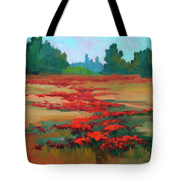 Tuscany Poppy Field Tote Bag by Diane McClary
