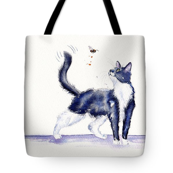 Tuxedo Cat And Bumble Bee Tote Bag