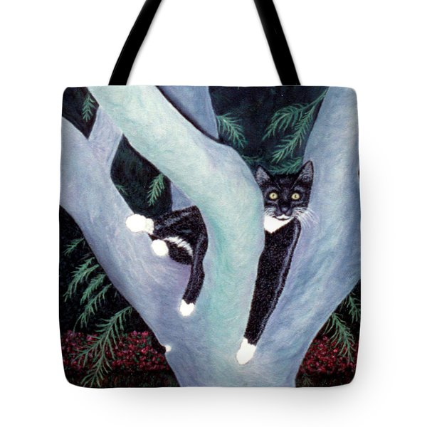 Tuxedo Cat In Mimosa Tree Tote Bag