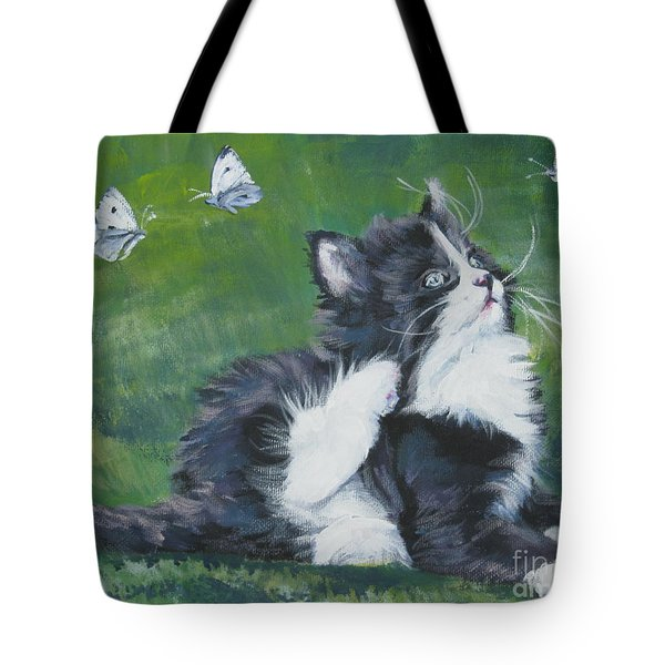 Tuxedo Kitten Tote Bag by Lee Ann Shepard