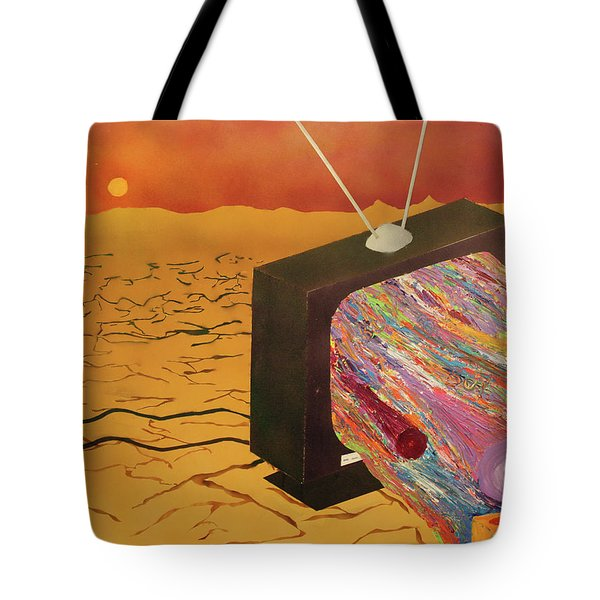 Tote Bag featuring the painting Tv Wasteland by Thomas Blood