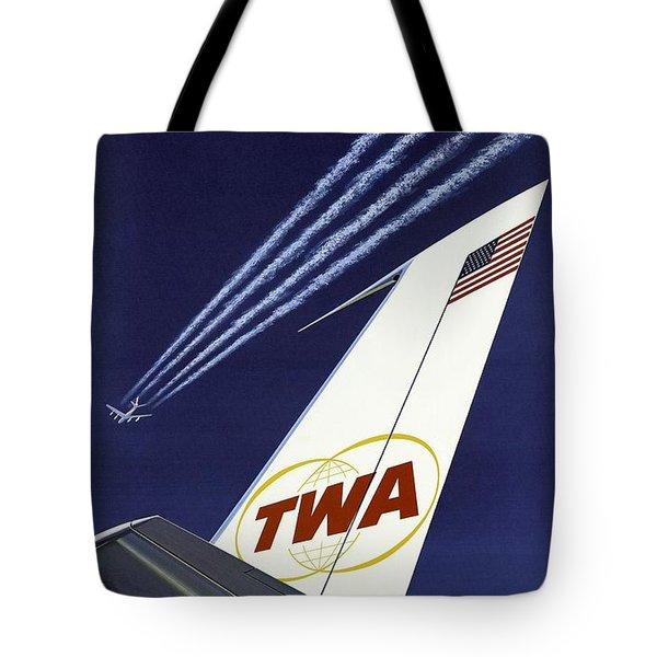 Twa Star Stream Jet - Minimalist Vintage Advertising Poster Tote Bag