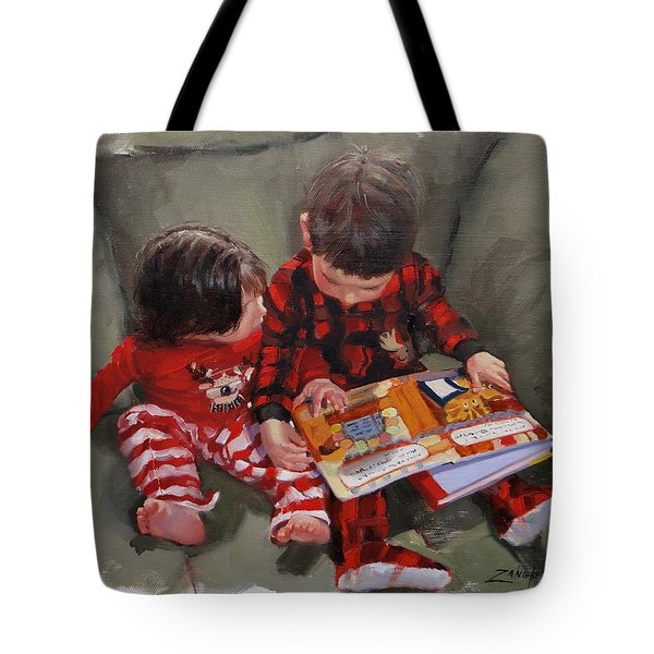 Tote Bag featuring the painting Twas The Night Before by Laura Lee Zanghetti