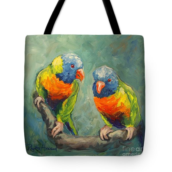 Tote Bag featuring the painting Tweeting by Phyllis Howard