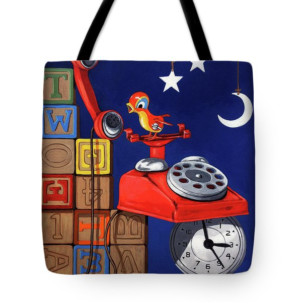 Tote Bag featuring the painting Tweets -narrative Painting by Linda Apple
