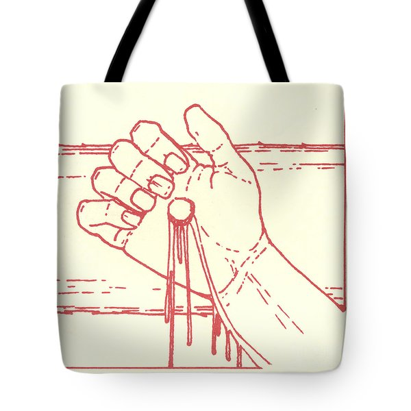 Tote Bag featuring the drawing Twelfth Station- Jesus Is Raised Upon The Cross And Dies  by William Hart McNichols