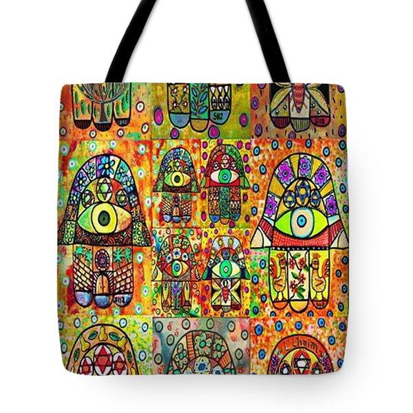 Twelve Hamsas Tote Bag by Sandra Silberzweig