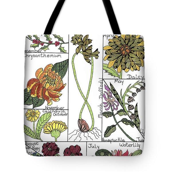 Twelve Month Flower Box Tote Bag