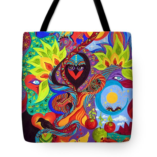 Tote Bag featuring the painting Lovebirds by Marina Petro