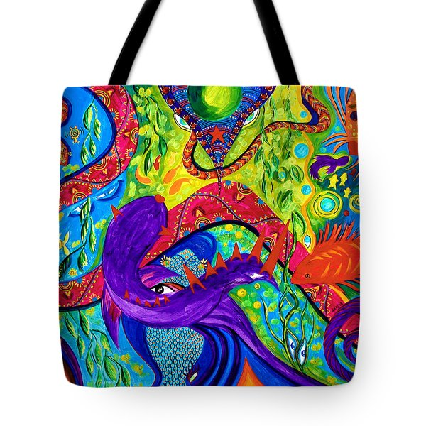 Tote Bag featuring the painting Undersea Adventure by Marina Petro